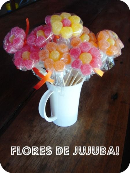 Flores de jujuba! - como fazer: Communion Ideas, Bday Ideas, 1St Bday, How, Craft Ideas