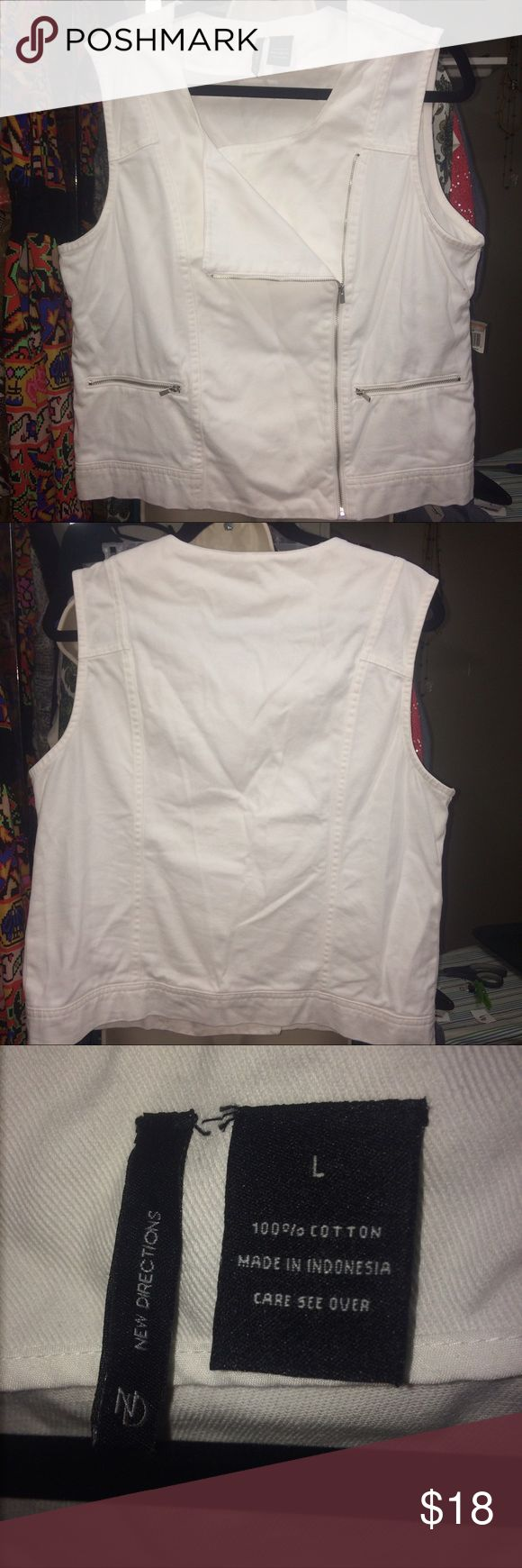 White Denim Zipper Fold over Collar Vest In like new condition. Has a zipper in the front. The front Flap can fold Down or zip all the way up. new directions Jackets & Coats Vests