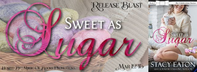 SWEET AS SUGAR.  The Celebration Township book 5by Stacy Eaton  Genre:Contemporary Romance  Missy Moresco might be Celebration Police Departments police dispatcher but shes also got her thumb on the pulse of the township. When FBI Agent Casper Princeton shows up in town on a case Missy and Casper go undercover to protect the real reason hes there by pretending they are a couple.  With Missys snarky comments and Caspers quick comebacks these two find it hard to keep a professional distance…