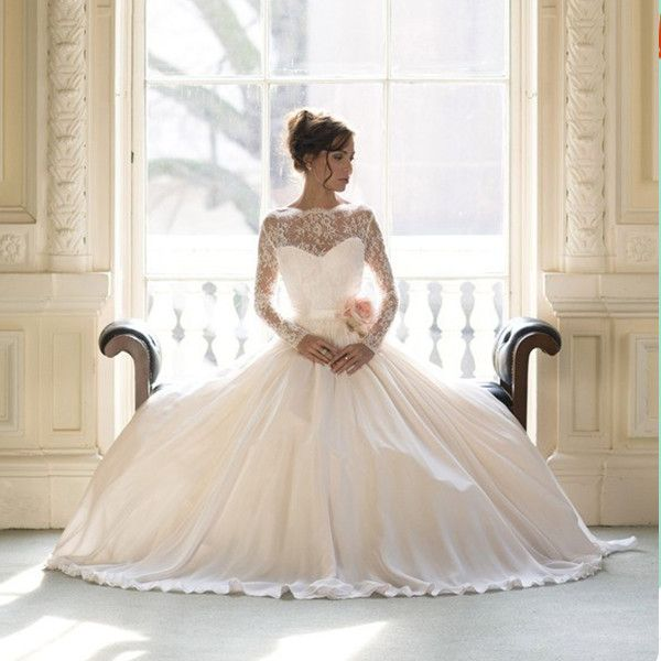 Cheap dress funky, Buy Quality gown evening dress directly from China dress cheongsam Suppliers: Vestido De Novias Sheer Lace Long Sleeves Open Back Princess Ball Gown Wedding Dresses 2014 New Arrival