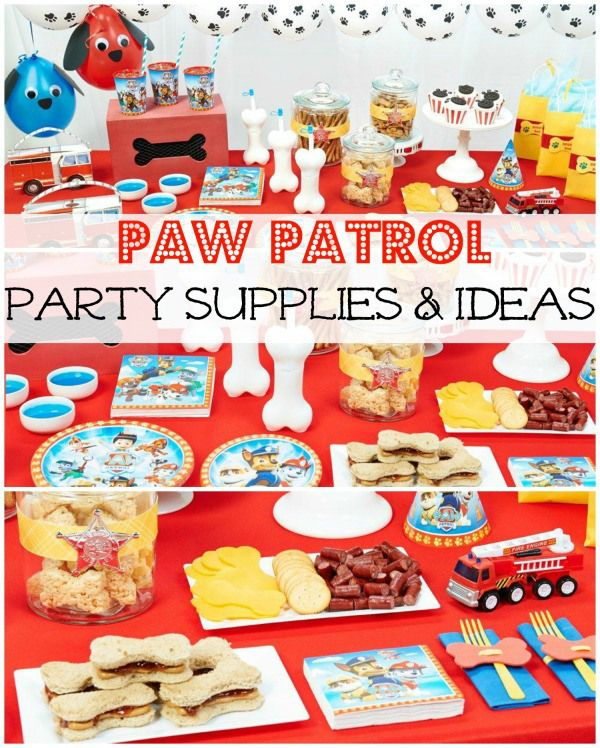 Paw Patrol Party Supplies for your little Paw Patrol fan. From a cute invitation idea to food perfect for this theme (think pb&j bone shaped sandwiches!), your little boy or girl will have an absolute blast at their party.
