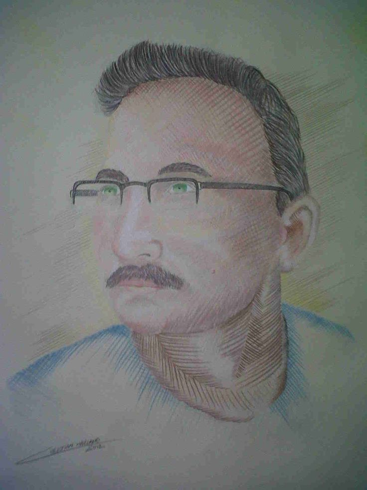 Retrato de William Hidalgo Lapices de colores sobre papel 50x40 cm