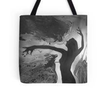 Mixed media watercolor collage analog darkroom handmade silver gelatin print  of silhouette of female dancer  Tote Bag