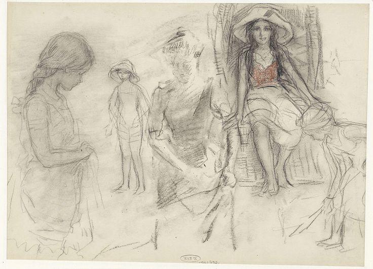 Schetsen van vrouwen en meisjes op het strand, Johan Antonie de Jonge, 1874 - 1927