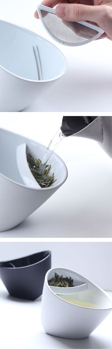 Tilting teacup // so clever, no need for a bag or strainer, simple put tea leaves in the cup and steep, when done, tilt! #product_design #industrial_design