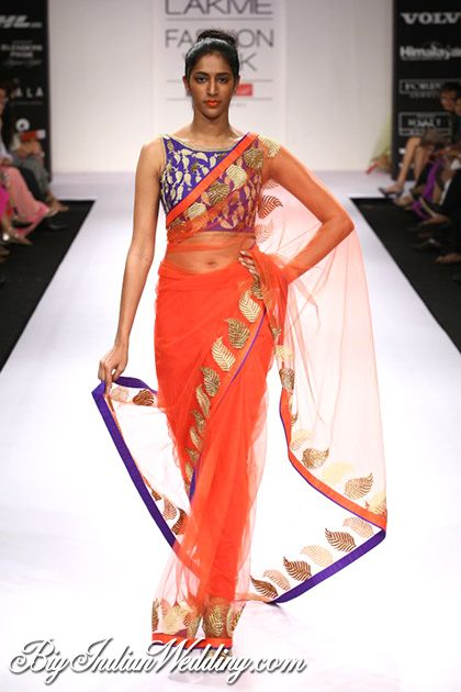 Amrita Thakur https://www.facebook.com/pages/Amrita-Thakur/112558018840657 Saree at Lakme India Fashion Week 2012