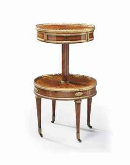A LOUIS XVI ORMOLU MOUNTED TULIPWOOD AND KINGWOOD MARQUETRY TABLE A OUVRAGE  STAMPED BY MARTIN