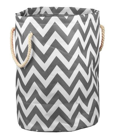 Such a CUTE laundry hamper!! This Gray & White Chevron Barrel Hamper is perfect! #zulilyfinds