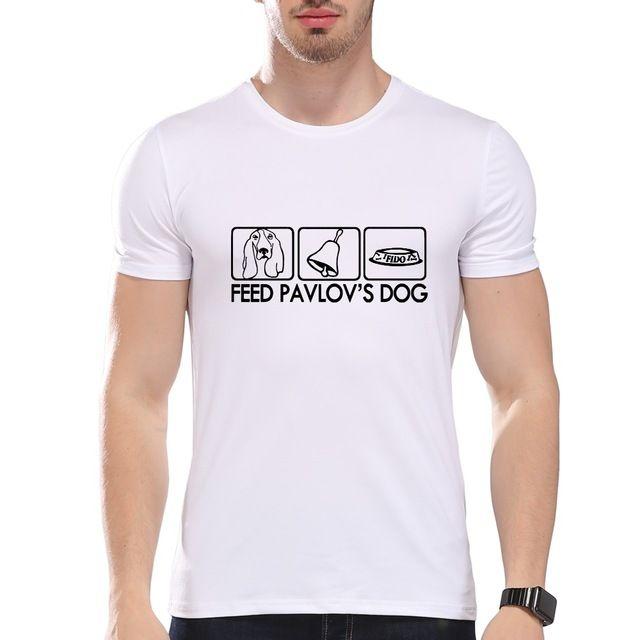 TEEHEART Men's Feed Pavlov's Dog Printed Summer T-Shirt Short Sleeve O-Neck Modal  Dog Lover Top Tees la325