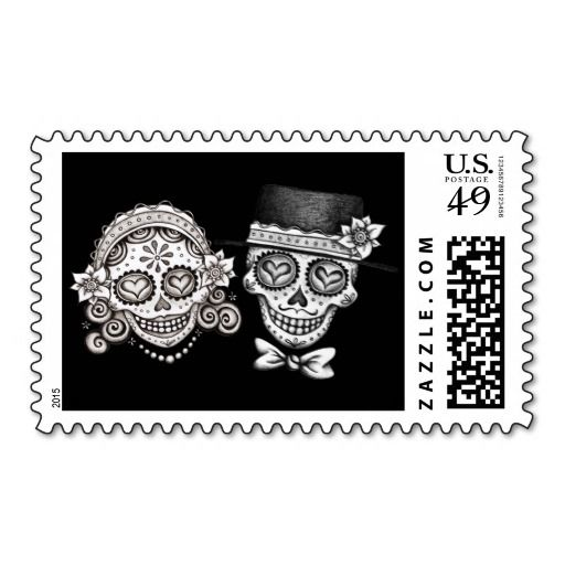 These Los Novios Day of the Dead stamps feature a smiling sugar skull couple - a beautiful female and a handsome male calavera, intricately decorated with Dia de los Muertos designs.  These Los Novios Dia de los Muertos stamps are perfect for Day of the Dead themed weddings, engagement announcements, or simply a gothic declaration of undying love!  These Dia de los Muertos calaveras are the original artwork of Thaneeya McArdle.  You can see more of her art at her website, <a…
