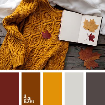 Warm autumn colors. Such touching withering splendor. Burgundy, gold, brown harmony with the gray scale colors. The color combination is attractive for its expressiveness, mature beauty. Its fully appreciate the wise adult women who know a lot about ageless classic. This palette is good for spectacular autumn-spring wardrobe. Living room