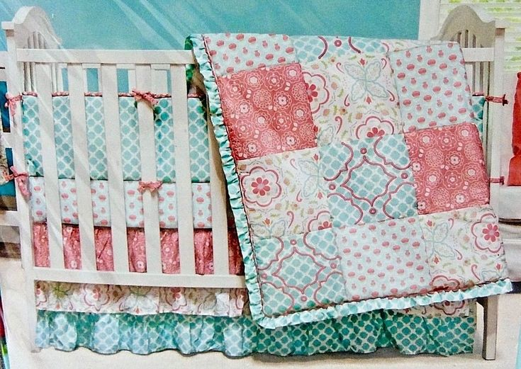 New Mila Girls 4 Piece Crib Bedding Set From The Peanut Shell Fits A Standard Size Crib Patchwork Crib Bedding Girl Coral Crib Bedding Girl Crib Bedding Sets
