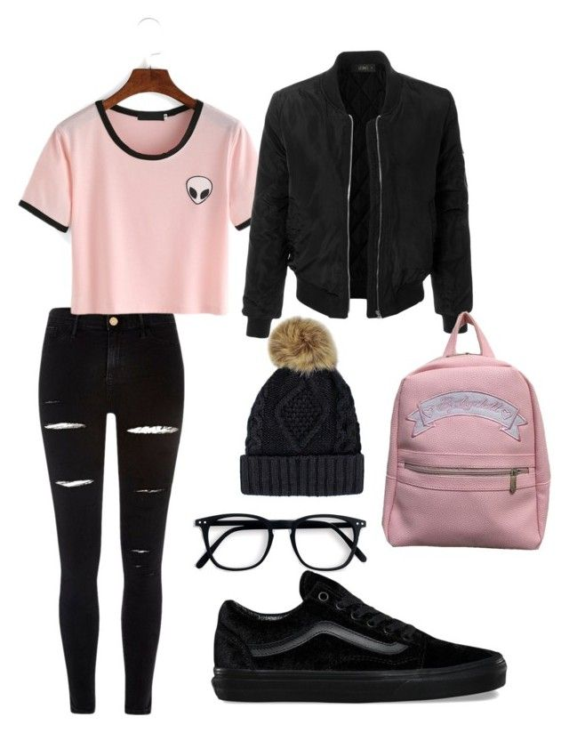 """Black🖤 and Pink💖"" by ralucapopa-1 on Polyvore featuring River Island, LE3NO and Vans"
