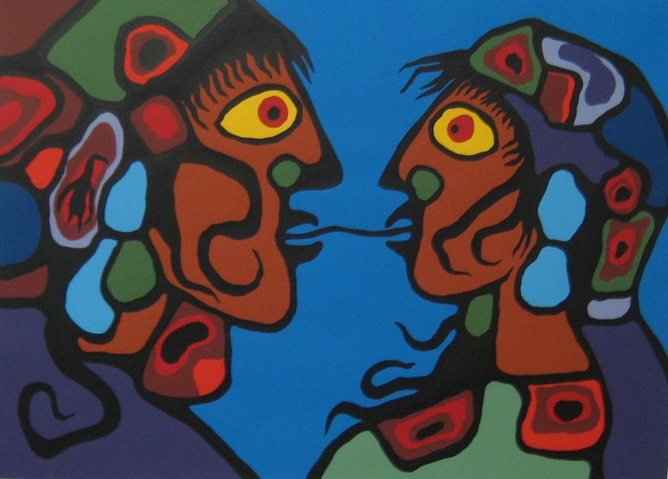 "Norval Morriseau (Copper Thunderbird) Grand Shaman of the Ojibwa Nation (1932-2007)  Founder of the Woodlands School of Canadian art and was an important member of the ""Indian Group of Seven"