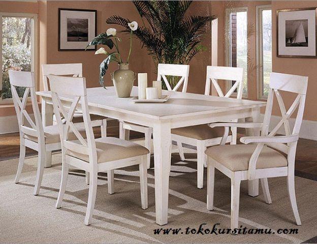 Meja Makan Finishing Duco Putih SMK-008, meja makan mewah, meja makan putih, meja makan murah