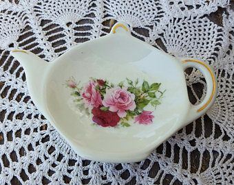 Vintage teabag caddy spoon rest rose roses Formalities Baum bros brothers porcelain white gold victorian  pill tray floral red pink teapot