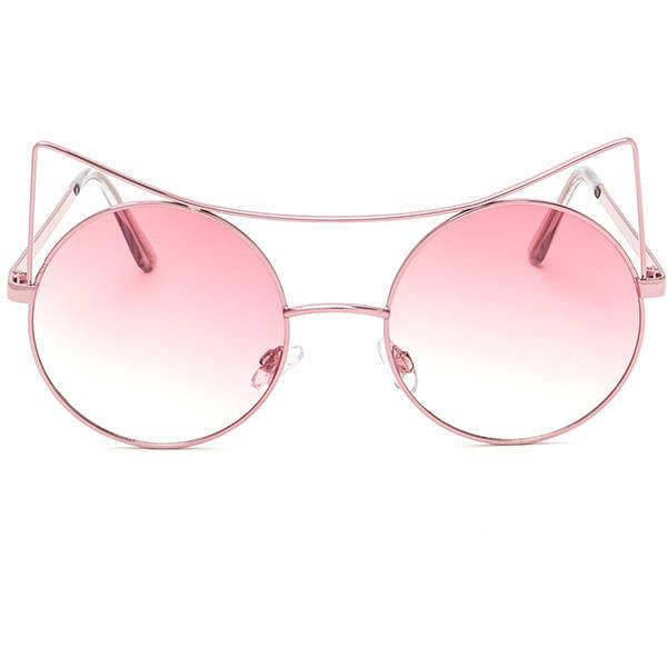 PINK Purr-fect Round Cat Ear Sunglasses ($7.50) ❤ liked on Polyvore featuring accessories, eyewear, sunglasses, pink, round frame sunglasses, imitation sunglasses, fake glasses, circle sunglasses and pink lens sunglasses