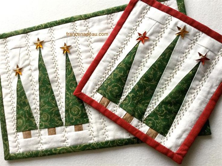 The Three Christmas Trees - mug rug and coaster | Craftsy