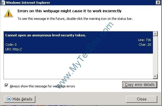 IE8: Simple Solution for: Cannot open an anonymous level security token. | My Tec Bits.