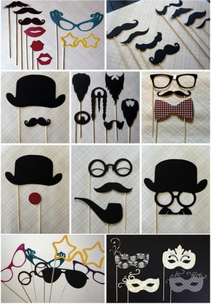 love the mustaches, top hat idea, and especially the MASKS!!!