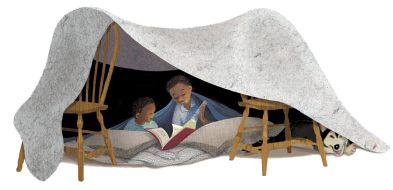 homemade suspension roof - blanket fort - stitch chairs and applique the blanket?