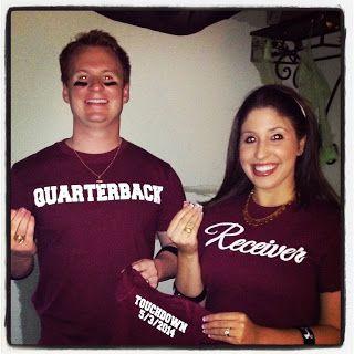 Best pregnancy annoucement ever! Quarterback Receiver TOUCHDOWN! Feeling blessed :)