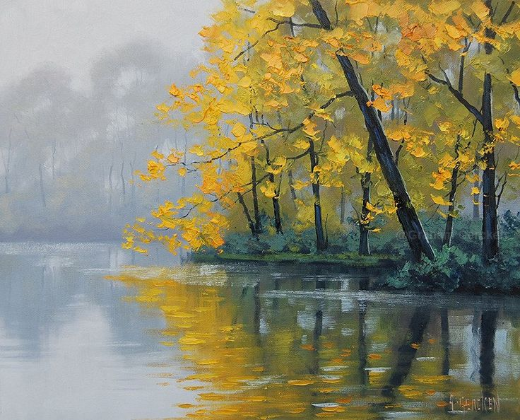 LISTED ARTIST Oil PAINTING Autumn Landscape River Painting trees by G.Gercken by GerckenGallery on Etsy