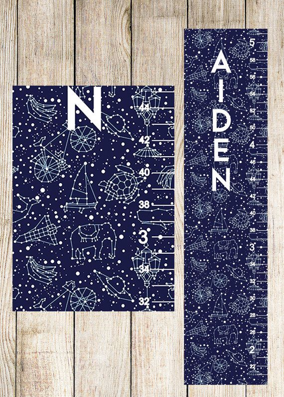 Outer Space Growth Chart - Personalized Canvas Growth Chart, Constellation Growth Chart Perfect for Space Nursery Decor -  GC0001SQ