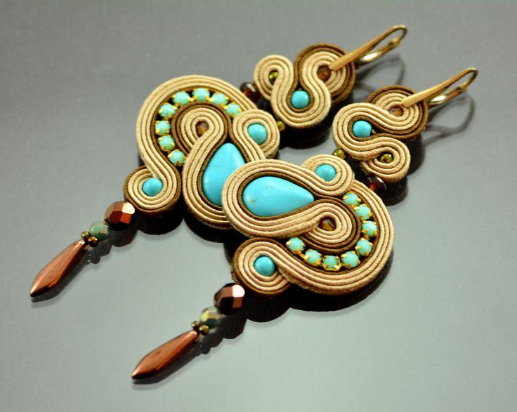 Long Turquoise Beige Dangle Earrings - Long Dangle Soutache Earrings - Turquoise Earrings - Brown Embroidered Earring - Orecchini Soutache by OzdobyZiemi on Etsy