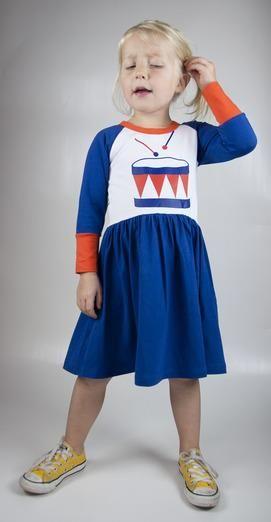 Moromini Raglan l/s dress - Drums Please Retro Baby Clothes - Baby Boy clothes - Danish Baby Clothes - Smafolk - Toddler clothing - Baby Clothing - Baby clothes Online