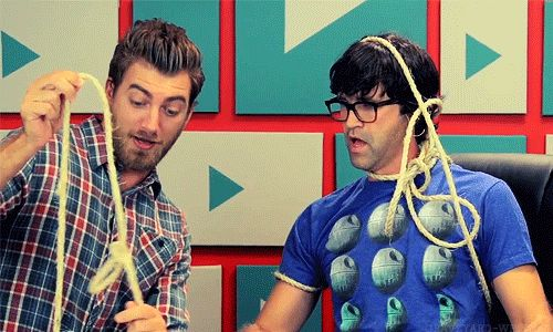 """(gif) """"its a trick! i did a magic trick!"""" never have i seen full grown men getting so excited over rope tricks"""