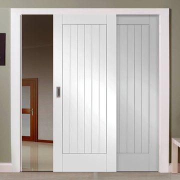 Easi-Slide OP3 White Suffolk Flush Sliding Door System in Four Size Widths