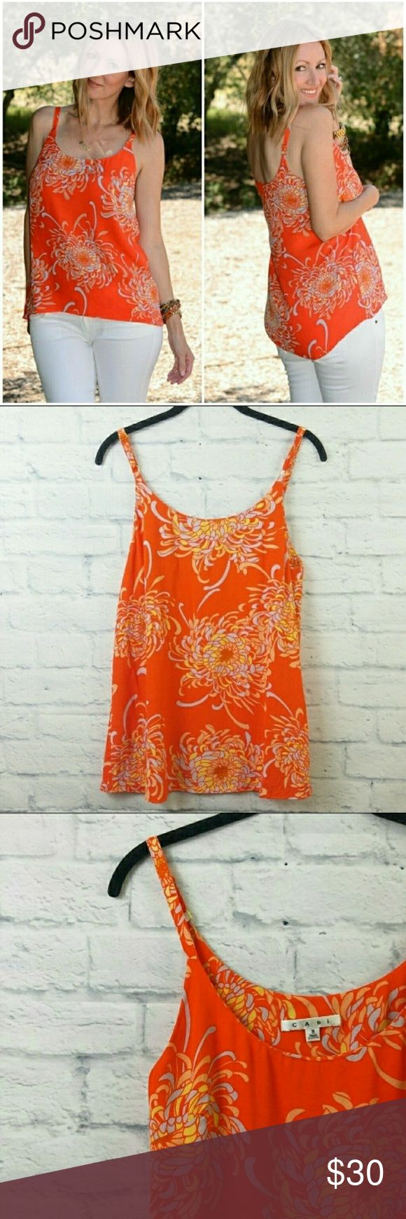 """CAbi Mum Cami Tank Orange Floral Small #777 Final Price. CAbi Mum Cami Tank Orange Floral Small #777. Excellent Pre Worn.  Fabric is rayon Measurements are below, taken straight across with the garment laying flat Bust - 17"""" Length - 27"""" adjustable straps 0083591740ltbg7/16 CAbi Tops Tank Tops"""