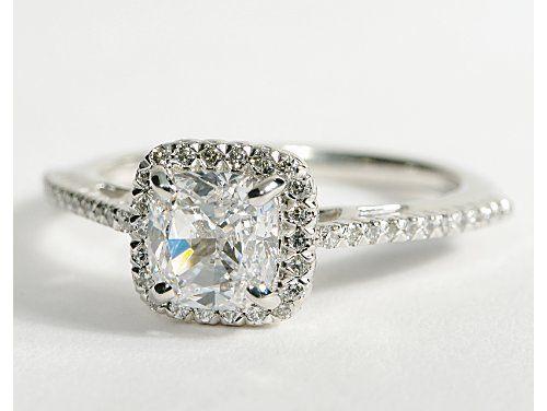Cushion Cut Halo Engagement Ring.