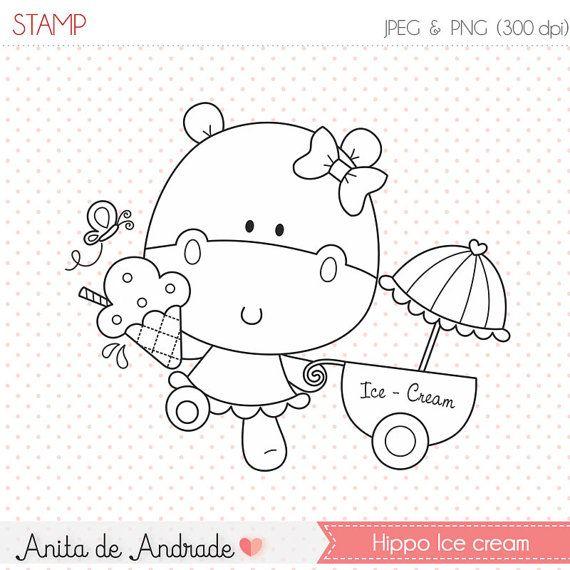 50% OFF Hippo's Ice Cream Shop - commercial use - digital stamp, line art, digital clip art, graphics, digital images - S017