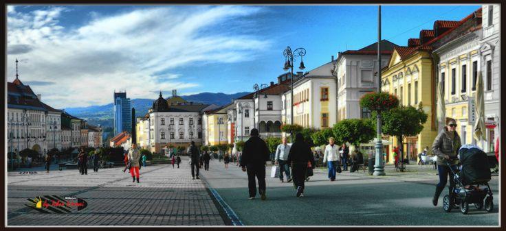 Besztercebánya főtér - Banská Bystrica, Slovak Highland, Nikon Coolpix L310, panorama mode photo: segment 2, HDR-Art photography 2014.
