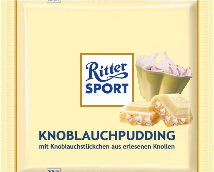 RITTER SPORT Fake Schokolade Sorte Knoblauchpudding