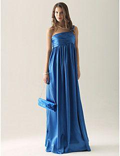 Lanting Bride® Hasta el Suelo Charmeuse Vestido de Dama de Honor - Funda / Columna Sobre un Hombro Talla Grande / Pequeña conRecogido /