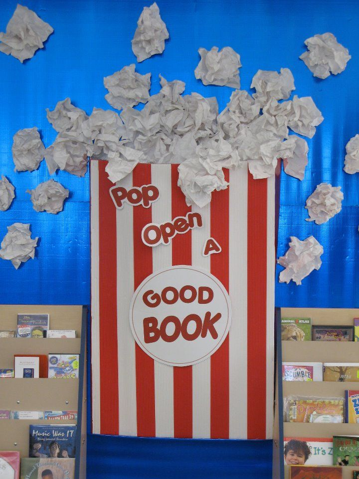 """""""Pop Open A Good Book"""" is fun idea for a reading bulletin board display with a popcorn theme.  Students could design popcorn bags and write about their stories on their bag templates...change it up for Sunday School...pop open The Good Book...."""