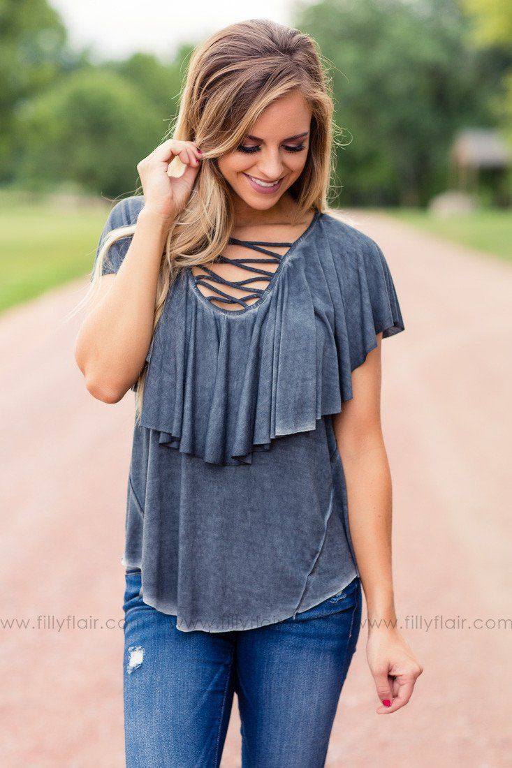 On Point Grey Strappy Top