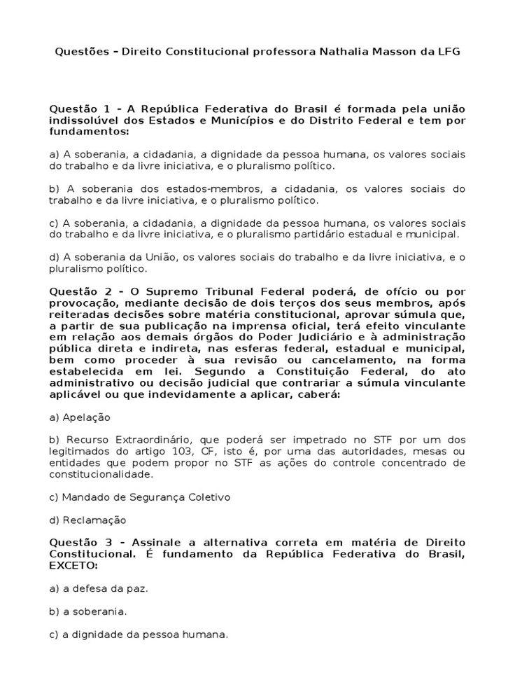 I'm reading Simulado Direito Constitucional - Nathalia Manson on Scribd