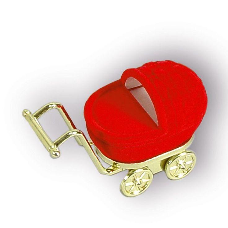 Dárková krabička - Kočárek červený