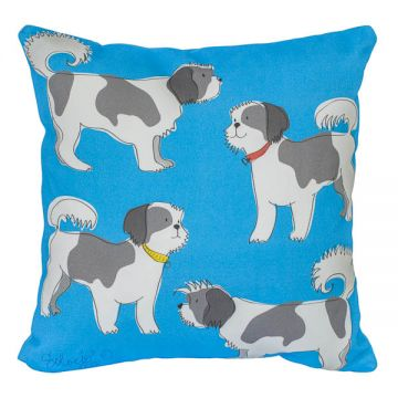 "A litter of fun-loving Shih Tzus. 12""x12"" cotton twill with faux-down insert. http://troskodesign.com/shop/throw-pillow-shih-tzu-made-in-usa/"
