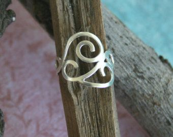 Silver filigree ring one of a kind ooak modern ring size