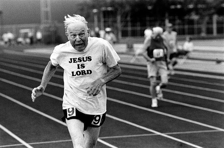 Photo by @edkashi from my book Aging in America. An elderly man competes in the annual Senior Olympics held in Baton Rouge #louisiana in 2000. @viiphoto #seniors #athletics #seniorolympics #running #jesus #fromthearchives