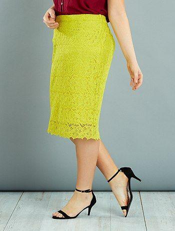 Falda tubo de encaje                     $selectedProduit.getColorisLabel() Tallas grandes mujer  - Kiabi