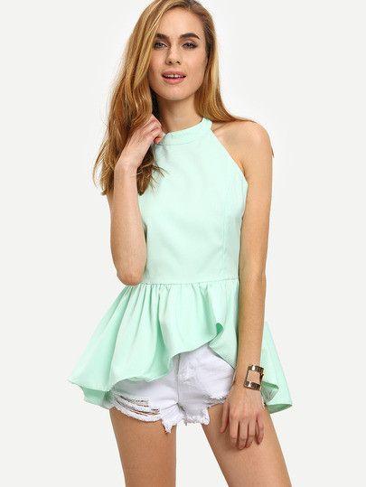 halter tops, peplum tops, backless tops, mint green summer tops - Lyfie