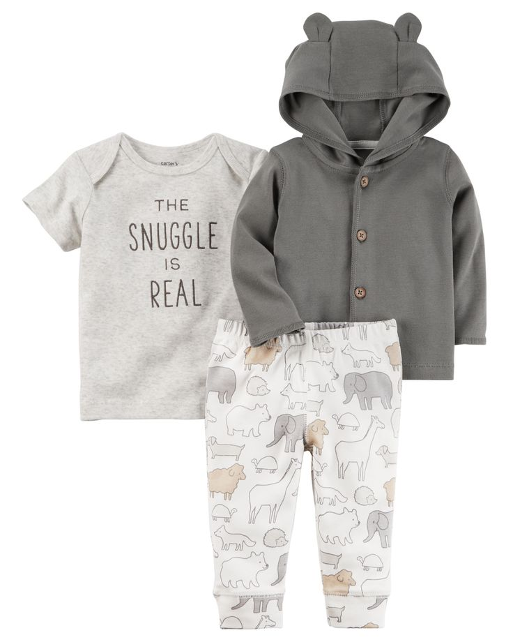 Made with our babysoft cotton, this little jacket gets extra sweet with animal ears on the hood. Paired with essential pants and a bodysuit to match, baby's all set!