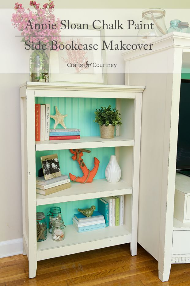 Annie Sloan Painted Bookcase with Coastal and Nautical Accessories.