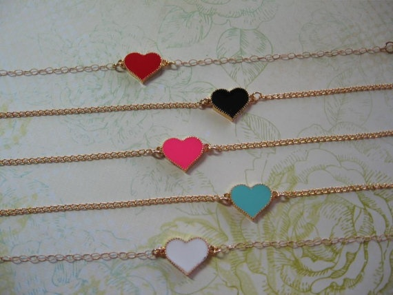 Enamel Heart Bracelet by DirtyBirdJewellery on Etsy, $20.00